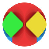 Colorful abstract sphere consisting of puzzles