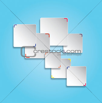 Abstract 3d white rectangles on a blue background