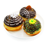 Three donuts with chocolate