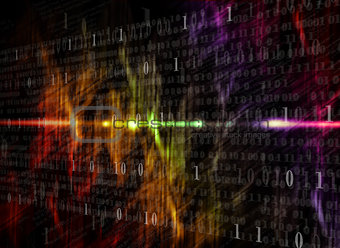 Glowing digital code on a dark background