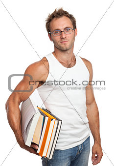 Caucasian man carrying stack of books on white