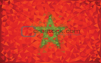 Flag Morocco grunge mosaic geometric pattern banner triangle vector.