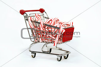 Candy canes in shopping cart