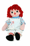 Christmas rag doll on white