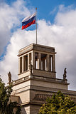 Russian Embassy Building and Russion Flag in Berlin, Germany