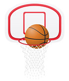 basketball basket and ball vector illustration