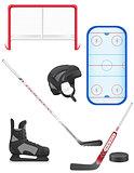 set of hockey equipment vector illustration