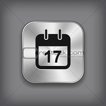 Calendar icon - vector metal app button