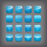 Set of blank blue buttons for you design or app.