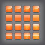 Set of blank orange buttons for you design or app.