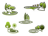 Green trees elements for landscape design