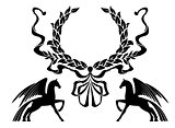 Winged horses with laurel wreath