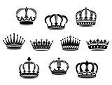 Medieval heraldic crowns set