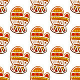 Gingerbread mitten seamless pattern