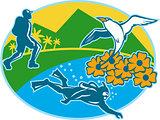 Scuba Diver Hiker Island Tropicbird Flowers Retro