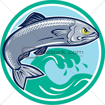 Sardine Fish Jumping Circle Retro