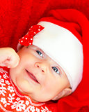 Newborn girl on Christmastime