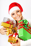 Happy Santa girl with gifts