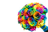 Wedding rainbow roses bouquet