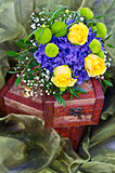 Yellow roses bouquet on box