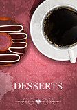Vector dessert menu in grunge vintage style