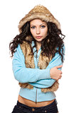 Portrait of perfect young brunette in the hood. Isolated