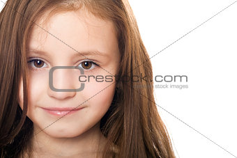 Closeup portrait of pretty little girl. Isolated