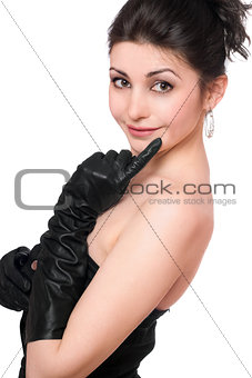 Portrait of beautiful young woman in a black dress