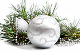 Christmas decorations with big silver ball and silver beads