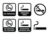 No smoking, smoking area vector icons set