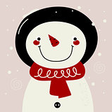 Retro Snowman with red Scarf on snowing background