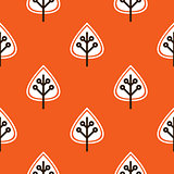 Thanksgiving red seamless pattern with leaves