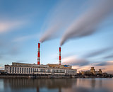 Berezhkovskaya Embankment and Power Plant in Moscow, Russia