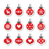 Christmas ball, christmas bauble vector red icons set