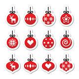 Christmas ball, christmas bauble vector red icons set