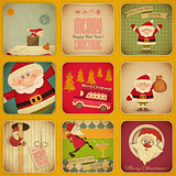 Retro Merry Christmas and New Years Card. Santa Set
