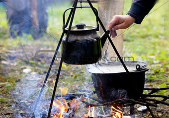 Food on a fire.