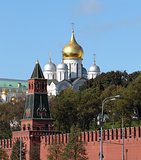 Moscow Kremlin tower on the background of the cathedral