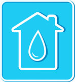 blue sticker with water drop and house
