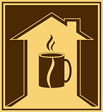 coffee icon with house and cup