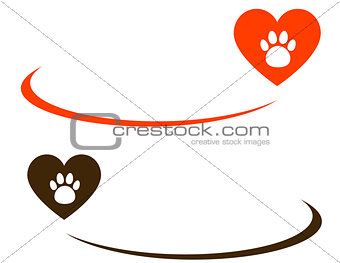 background with heart and paw