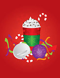 Christmas Espresso Drink To Go Cup with Background Illustration