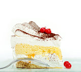 whipped cream and ribes dessert cake slice