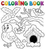 Coloring book winter bird theme 1
