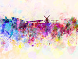 Amsterdam skyline in watercolor background