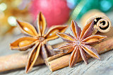 extremely closeup view of anise star and cinnamon sticks