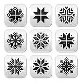 Christmas, winter snowflakes vector buttons set
