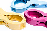 Colorful Plastic Clamps Isolate On White Background