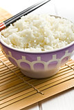 jasmine rice in ceramic bowl