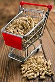 wooden pellets in shopping cart